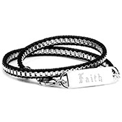 Adjustable Black Leather Chain Double Wrap Engraved Bracelet