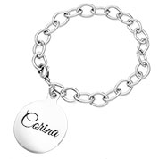 Silver Bracelet with Round Charm 7 inch