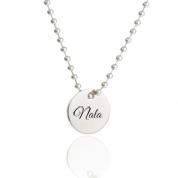 Silver Engraved Charm Necklace with 5/8 inch Round Charm