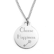 Silver Personalized Necklace with 3/4 inch Round Charm