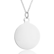 Silver Steel Round Pendant Necklace
