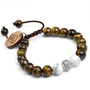 Lisa Gemstone Wood Charm Engraved Bracelet