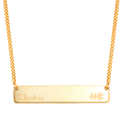 Slender Personalized Gold Bar Necklace