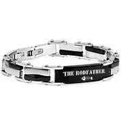 Steel & Black Link Mens Engraved Bracelet