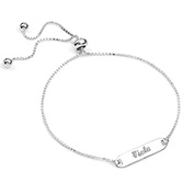 Sterling Silver ID Adjustable Engraved Bracelet