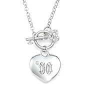 Sterling Heart with Key Engravable Necklace