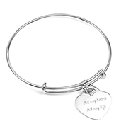 Sterling Silver Bangle Bracelet with Heart Charm