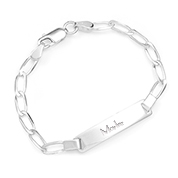 Sterling Silver Childs Engraved Curb Link ID Bracelet