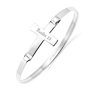 Sterling Silver Personalized Cross Bangle