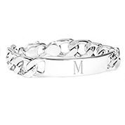 Sterling Silver Curb Link Personalized Bracelet