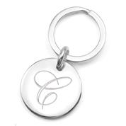 Sterling Silver Elegant Engraved Keychain