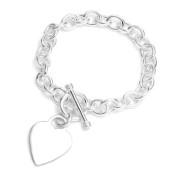 Sterling Silver Heart Engravable Charm Bracelet