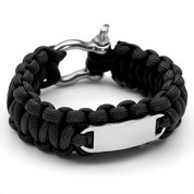 Black Paracord Survival Screw Clasp Bracelet MD