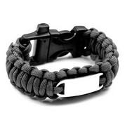 Black Paracord Survival Whistle Clasp Bracelet SM