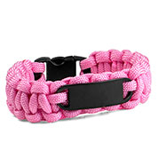 Womens Pink Paracord Survival ID Bracelet & Black Tag MD