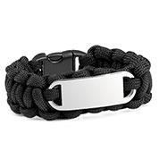 Black Paracord Survival ID Bracelet & Steel Tag MD