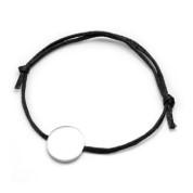 Unisex Black Cotton Steel Engraved Bracelet