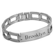 Brushed Titanium Personalized Bracelets for Him