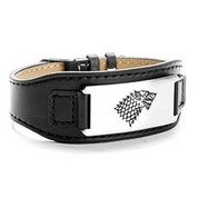 Wide Leather Steel Personalized Bracelets for Him