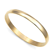 Yellow Gold Engraved Bangle Bracelet - 65mm Diameter 8 Inch