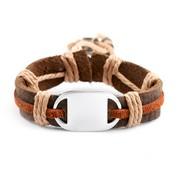 Kids Leather/Hemp Desert Bracelet Engravable Front