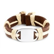 Kids Leather/Hemp Western Bracelet Engravable Front