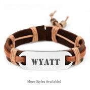 Adjustable Rustic Hemp Personalized Leather Bracelets