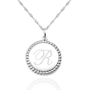 Engraved Sterling Silver Necklaces with Round Charm