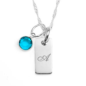Silver bar personalized birthstone necklaces for her aloadofball Gallery