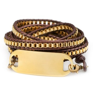 Gold Plated Chain Multi Wrap Leather Bracelet & ID Tag