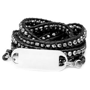 Hematite Bead Black Leather Multi Wrap Bracelet & ID Tag