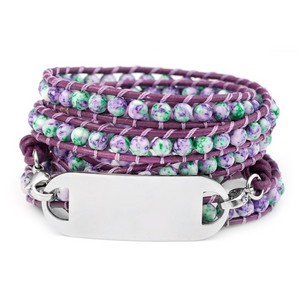 Violet & Green Womens Multi Wrap Leather Bracelet & ID Tag