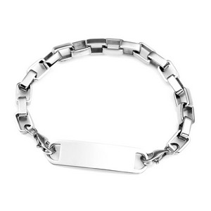 Silver Square Link ID Bracelet 7.5 - 8.5 In
