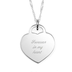 Tenderly Engraved Sterling Silver Heart Necklace