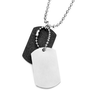 Steel and Black Engraved Double Dog Tags