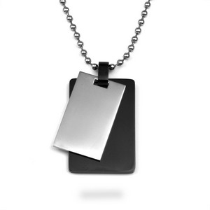 Silver & Black Double Dog Tag Necklace