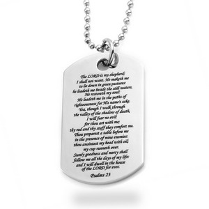 Psalm 23 Stainless Large Dog Tag Pendant