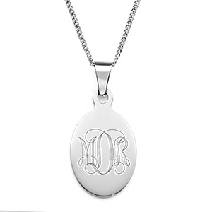 Tear Drop Oval Engraved Necklace for Her