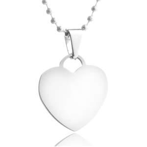Personalized Silver Heart Medium Pendant 15 In Chain