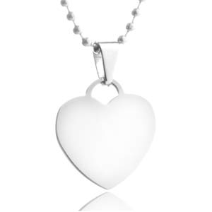 Personalized Silver Heart Medium Pendant 18 In Chain
