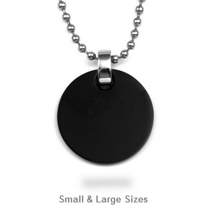 Dark Black Personalized Round Charm Necklace Pendant
