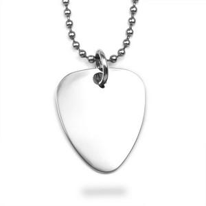 Silver Guitar Pick Engravable Necklace