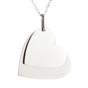 Double Hearts Engraved Necklace