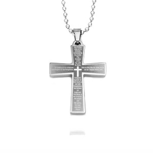 Lords Prayer Cross Stainless Engraved Necklace