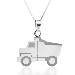 Steel Dump Truck Engraved Kids Necklace