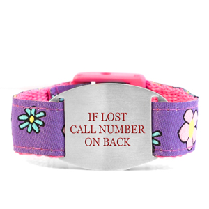 Flowery Field Bracelet with Safety ID Tag for Kids