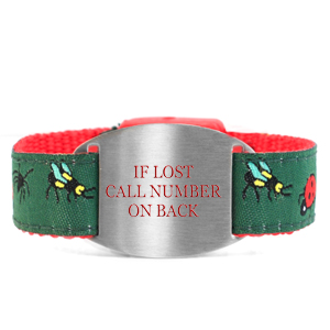 Backyard Bugs Bracelet with Safety ID Tag for Kids