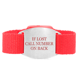Red Bracelet with Safety ID Tag for Children
