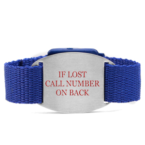 Blue Bracelet with Safety ID Tag for Kids