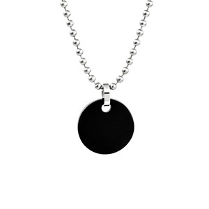 Small Black Personalized Pendant Necklace